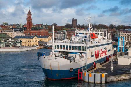 Helsingborg Sweden - November 12. 2017: Scandlines Ferry Mercandia IV in Port of Helsingborg Editorial