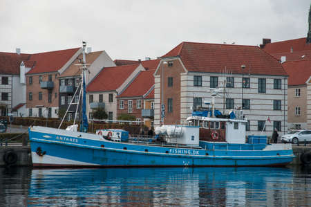Helsingor Denmark - November 12. 2017: Antares an old Danish fishing boat which now serves as a tour boat Editorial