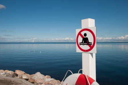 No swimming sign in Oeresund in Denmark