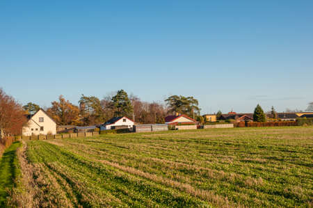 Countryside town of Mern in Denmark on a sunny autumn day