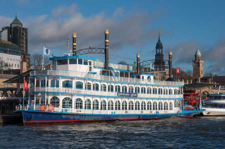 Hamburg Germany - December 16. 2017: Paddle steamer Louisiana Star Publikacyjne