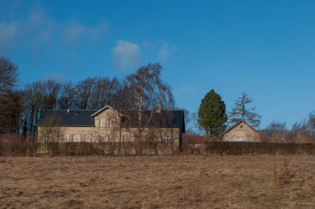 Old farm in Village of Norre Tranders in suburbs of Aalborg in Denmark Stock Photo