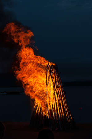 bonfire at an icelandic midsummer festival