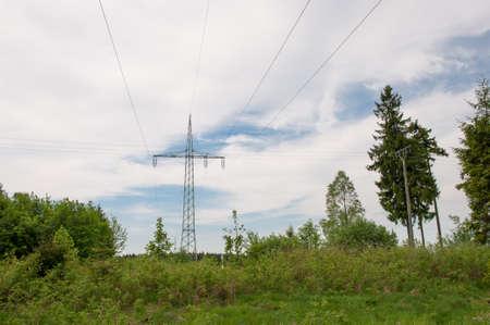 Power lines in Harz mountains in Germany Standard-Bild - 96175600