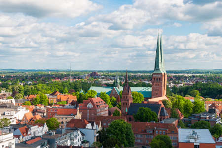 Aerial view of the German city of Lubeck and the Cathedral