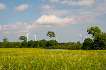 Windmills in the German countryside on a spring day
