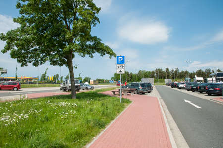 Brunautal Germany - May 28 2017: Rest area along the German Highway A7
