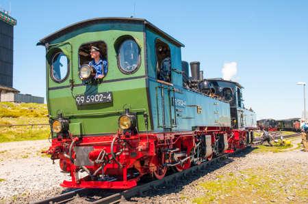 Brocken Germany - May 27. 2017: Steam train shunting at Brocken train station