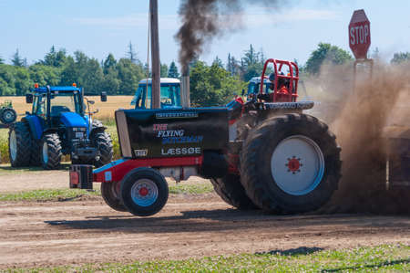 Mon Denmark - July 6. 2014: Tractor pulling competition Editorial