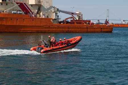 Korsor Denmark - August 22. 2015: Royal Danish Navy RIB boat sailing in the port