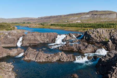 Waterfall Glanni in Nordura River in Borgarfjordur in Iceland