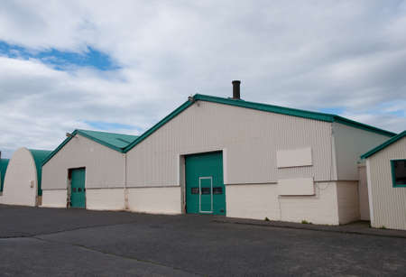 Old fish processing buildings in Hofn Iceland Stock Photo