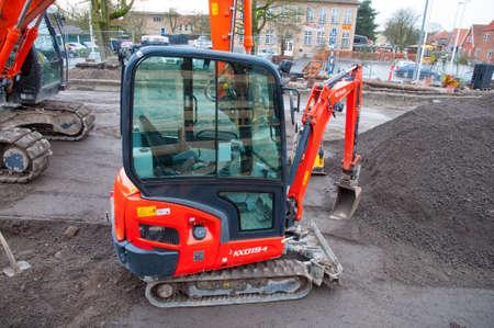 Vordingborg Denmark - January 19. 2018: Kubota Mini excavator Stock fotó - 98154539