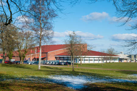 The sports hal in town of Hoeng in Denmark on a bright winter day