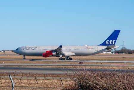 Copenhagen Denmark - March 17. 2018: SAS Airbus A340 arriving to Copenhagen airport