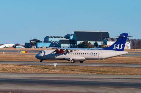 Copenhagen Denmark - March 18. 2018: SAS ATR72 airplane in Copenhagen airport