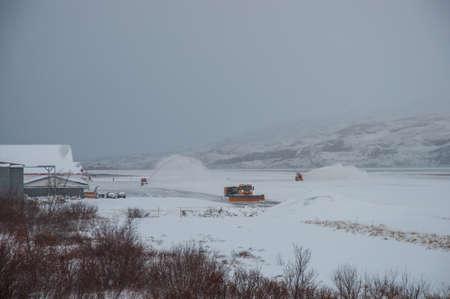 snowplowing at Akureyri airport in Iceland during winter