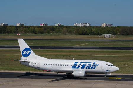 Berlin Germany - April 21. 2018: UTAir Boeing 737-500 at Berlin Tegel airport