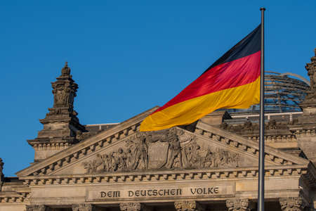 German flag at the Parliament in berlin