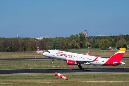 Berlin Germany - April 21. 2018: Iberia Express Airbus A320 plane at Berlin Tegel Airport