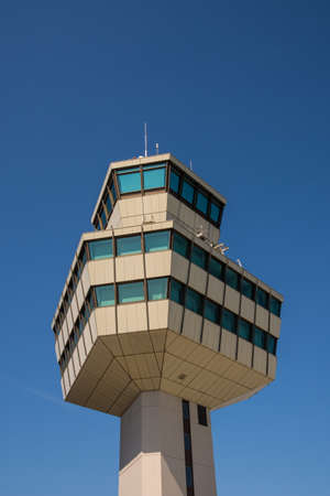 Berlin Germany - April 21. 2018: Berlin Tegel Airport Otto Lilienthal Terminal air control tower