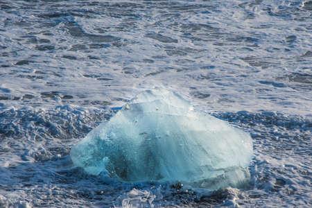 Icebergs on the coast of Diamond beach near Jokulsarlon in South Iceland