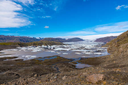 Hoffelsjokull glacier and lagoon in South Iceland on a summer day