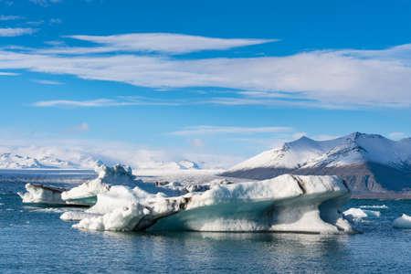 Icebergs on Jokulsarlon Glacier lagoon in Iceland