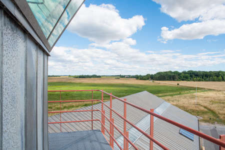 The view over nature from the old air control tower at Avno in Denmark on a sunny summer day