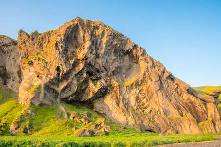 Hjorleifshofdi, a historical promontory in south Iceland on a sunny summer evening Stock Photo - 131320927