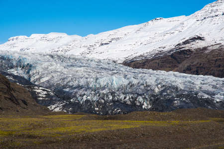 Flaajokull glacier, a part of Vatnajokull national park in Iceland on a sunny autumn day Stock Photo