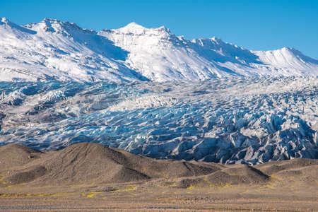 Flaajokull glacier, a part of Vatnajokull national park on a sunny autumn day Stock Photo - 131320995