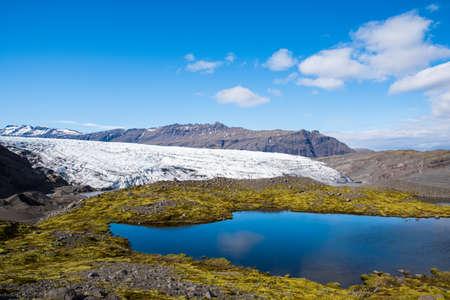 Flaajokull Glacier on the south coast of Iceland, a part of Vatnajokull National park Stock Photo - 131320996