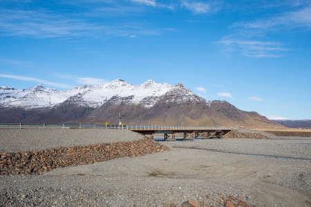 Temporary bridge on road number 1 crossing river steinav0tn in south Iceland Stock Photo - 131321000