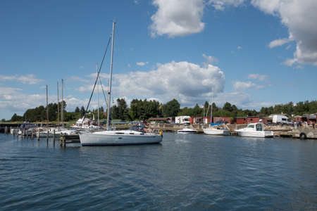 The yacht harbor in town of Harbolle on island of Mon in Denmark Stock Photo