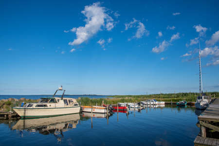 Port of Sandvig on the Danish countryside on a sunny summer day Stock Photo - 131321354
