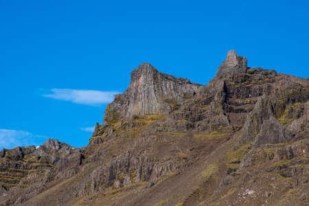 Basalt columns on top of mountain Hestgerdishnuta on a sunny day Stock Photo
