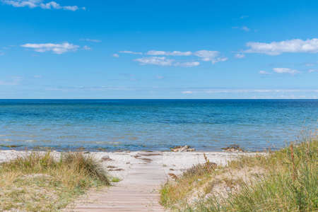 View towards te sea from Svino beach on the Danish countryside on a sunny summer day Stock Photo - 131321436