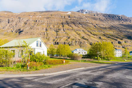 Town of Seydisfjordur in east Iceland on a sunny summer morning Stock Photo - 131321452