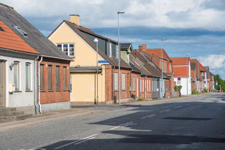 old houses along a street in city of Vordingborg in Denmark Stock Photo - 131321482