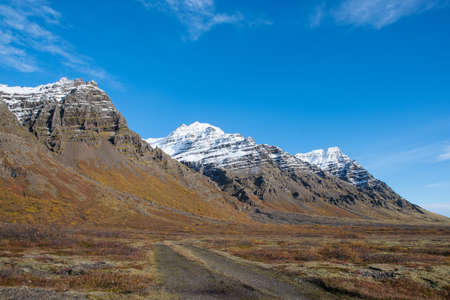 Kalfafellsdalur valley in South Iceland on a sunny autumn day