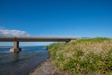 The bridge to island of Nyord in the Danish countryside