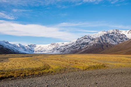 Valley of Kalfafellsdalur with Vatnajokull glacier in the background