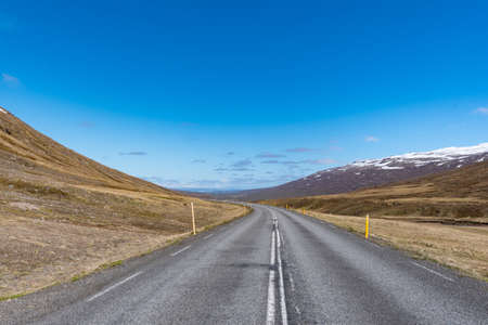 Ring road 1 through valley Fagridalur in south Iceland on a sunny summer day