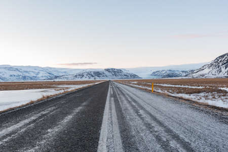 The road nr. 1 on the Icelandic countryside on a winter day