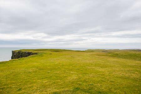 grass field on cape Ingolfshofdi in south Iceland Stock Photo