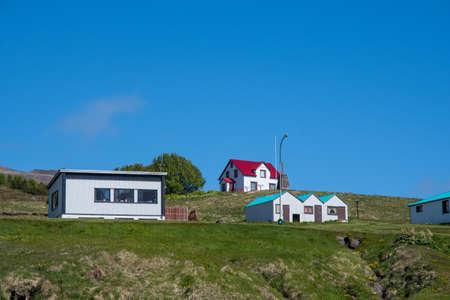 Buildings in town of Stodvarfjordur in east Iceland