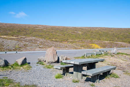 Resting spot along the ring road in Fagridalur in east Iceland on a sunny summer day