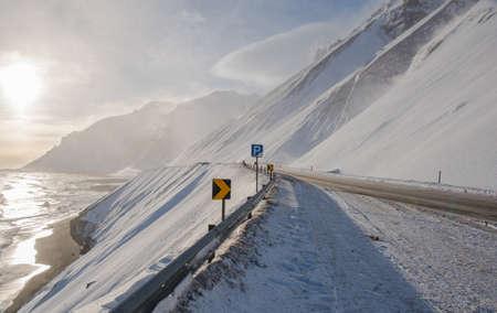 Winter day on the road in Hvalnesskridur land slides in east Iceland