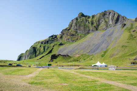 Herjofsdalur valley on island of Heimaey in Iceland on a sunny summer day